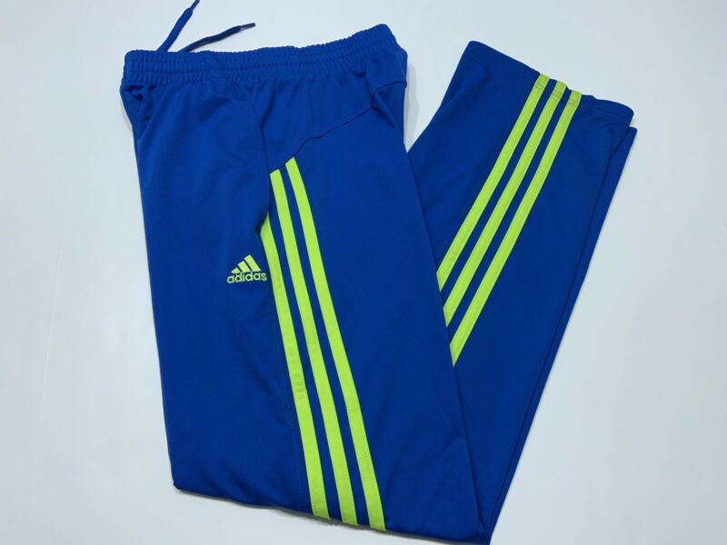 Youth Adidas Track Pants 3 Stripes Royal Blue Neon Green Stripes Size Small