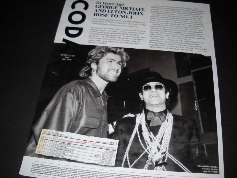 GEORGE MICHAEL & ELTON JOHN 23 years ago.. detailed full BB page PROMO POSTER AD