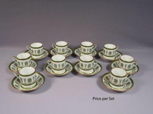 Richard Ginori ERCOLANO GREEN Gold Demitasse Coffee Espresso Cup Saucer  Italy