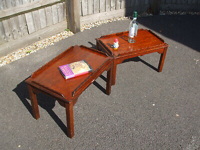 Pair of antique butler's tray coffee tables, golden oak, unusual and practical