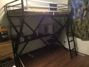 Black bunk bed with work table