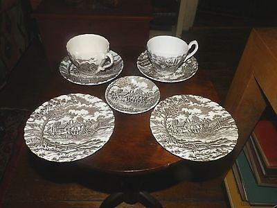 Myott 2 CUPS/SAUCERS 2 SCONE PLATES + MINI  Royal Mail Brown STAFFORDSHIRE Myott