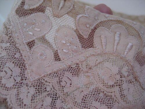 Vtg Antique VICTORIAN LACE Ecru 2 Pc COLLAR Ruffles Embroidery Edwardian UNUSED