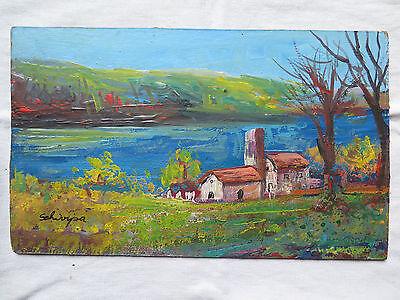 Malerei Board (Bild Antike Landschaft Stil Impressionist Unterzeichnet Malerei Öl Surfboard M)