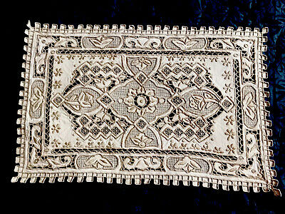 """Vintage Hand Embroidered Off White Linen Taupe Table Centre Tray Cloth 15.5x10"""""""