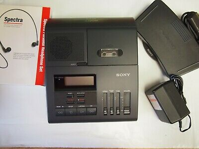 Sony Bm850 Microcassette Transcriber With Foot Pedal Ac Adapter And Headset