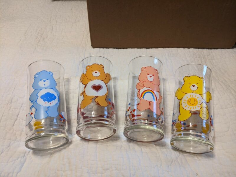 Set Of 4 1980s Care Bears Tumblers/Glasses From Pizza Hut.