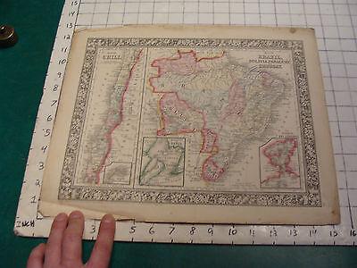ORIGINAL Hand Colored 1860 Mitchell Map: 15 1/4 x 12 1/2 BRAZIL CHILI URUGUAY