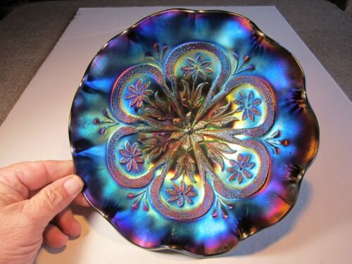 SUPER Electric Blue Iridescence Dugan Flowers & Frames Carnival Glass Bowl