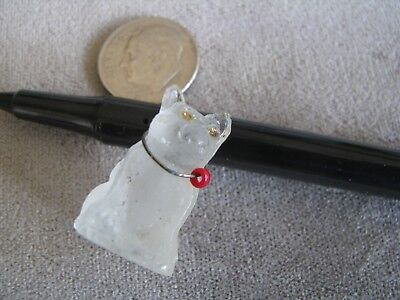 (Antique Vintage Czech Frosted Glass Cat Charm Bead Pendant 24x15x15mm)