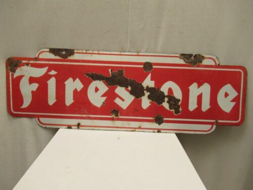 "Vintage Firestone Sign Board Porcelain Enamel Double Sided Shop Display Collect"""