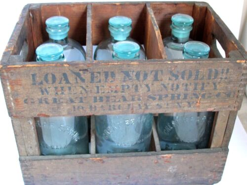 Antique Bear Spring Co. N.Y. 6 Glass Bottles in Original Crate