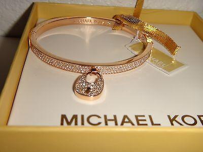 MICHAEL KORS Women's Rose Gold Bangle Bracelet Padlock Crystals MKJ5973791 + BOX