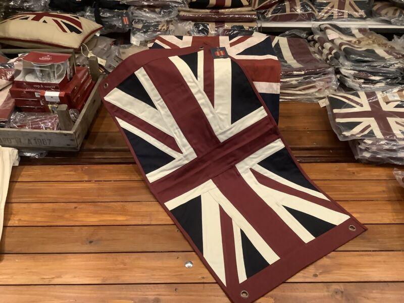 Union Jack Textile Flag ( Vintage White 76 X43cms Burgundy Ended)