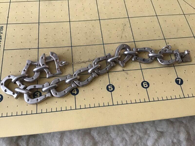 "Vintage Sterling Silver Taxco Mexico Horse Shoe Link Bracelet 7.5"""