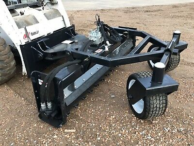 Jenkins Iron 84 Hyd Angle Soil Conditioner Power Rake Skid Steer Attachment