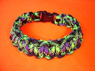 550 ParaCord Survival Cobra Braided Bracelet - Decay & Zombie Colored Fit 7 5/8""