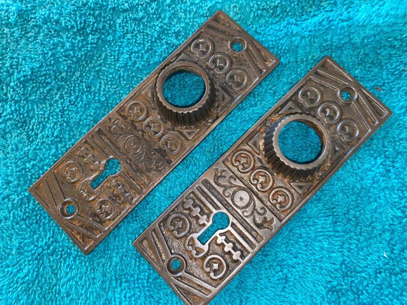 2 Antique Victorian Cast Iron Door Plates / Escutcheons