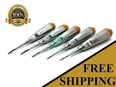 German 5 Pcs Curved Dental Surgery Extraction Luxating Elevator- Gold