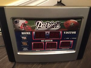 New England Patriots score board clock
