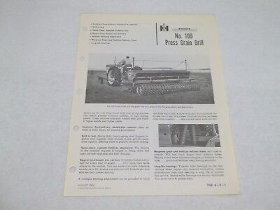 International No.100 Press Grain Drill Sales Reference Brochure
