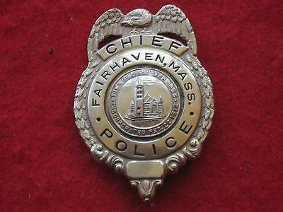 vintage and obsolete 1930s fairhaven Mass Police Chief's  badge