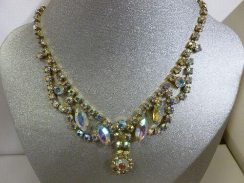 Vintage Gold Tone AB Rhinestone Necklace