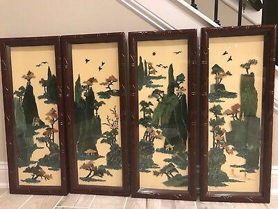 Four Seasons Paintings - The Four Seasons Jade Stone Paintings. Vintage (1970s) From Taiwan