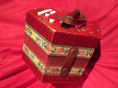 RARE Antique 1940s Scholer Concertina#502 Red Floral Vtg German Accordion WORKS