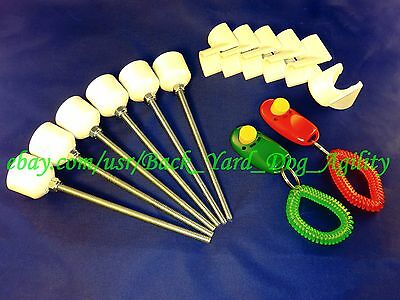 6 Weave Pole Pegs, 6 Jump Cups / 2 Training Clickers Dog Agility, Aug 2018
