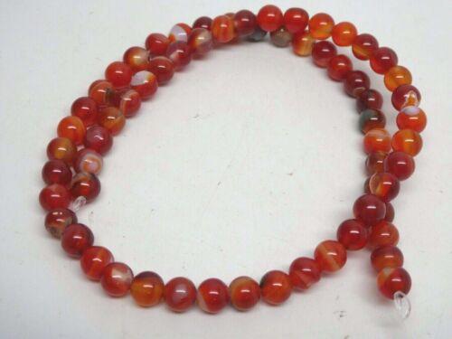"""Natural Vintage Banded Orange Carnelian Agate 6mm Round Bead Strands 15"""""""