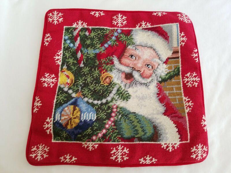 Handmade Needlepoint Wool Velvet Pillow Cover Christmas Santa Claus 13.5x14