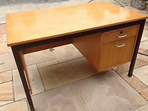 Large solid student study office desk. Wooden with metal frame. Maroubra Eastern Suburbs Preview