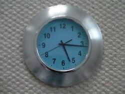 Plain Round Wall Clock Glass Chrome/Blue/Aluminum/Silver Bezel Quartz 11.5