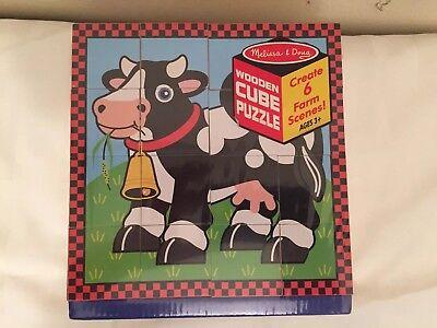 Melissa And Doug Farm Puzzle (Brand New Melissa and Doug Wooden Cube Farm)