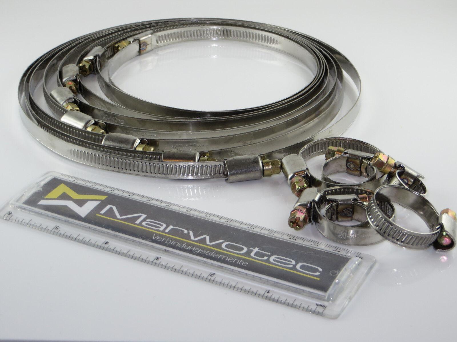 Schlauchschellen Edelstahl V2A mit Schneckengewinde DIN 3017 W2 von 8mm 60mm