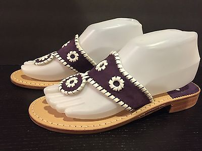 Jack Rogers Navajo Sandals Flats Flip Flop Suede Dark Purple White 7-7.5 M