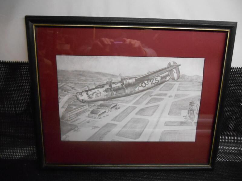 """Old Vtg WWII """"THE SHACK"""" Airplane Bomber Sketch Drawing Print Picture Hanging"""
