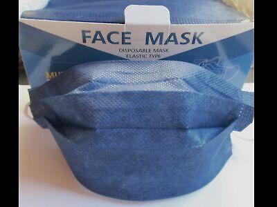 50 x Mund Nasen Bedeckung Maske Masken dunkelblau jeansblau 3 lagig Einweg Neu
