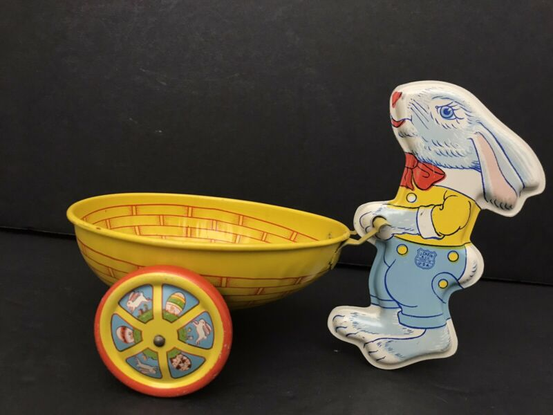 1957 Chein Tin Litho Blue Easter Bunny with Egg Shaped Cart