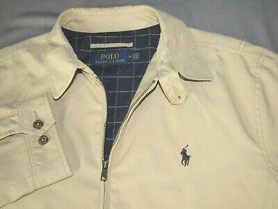 Men's Polo Ralph Lauren Khaki Zip-Up Checkered Lining Harrington Jacket -