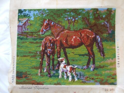 Vintage Needlepoint Of Horse, Foal & Dog In Field