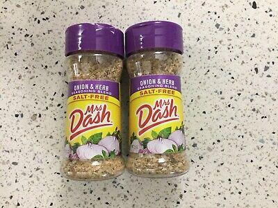 Mrs Dash Onion Herb Salt-Free Seasoning Two 2.5 Oz Brand New 10/21 Date Herb Salt Free Seasoning