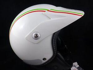 CASCO-ESTILO-TRIAL-DECO-ITALIANO-MOTOCICLETA-SCOOTER-HELMET-SIZE-S-BLANCO