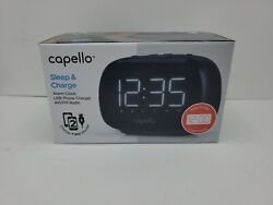 Capello Sleep & Charge Dual Alarm Clock W Dual USB Phone Charger AM/FM Radio