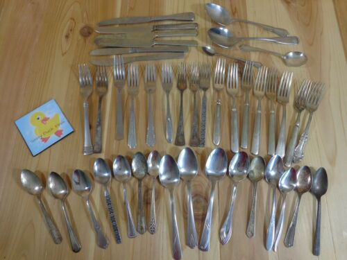 BULK LOT OF 43 Flatware Stainless Silverplate Mixed Patterns For Crafts
