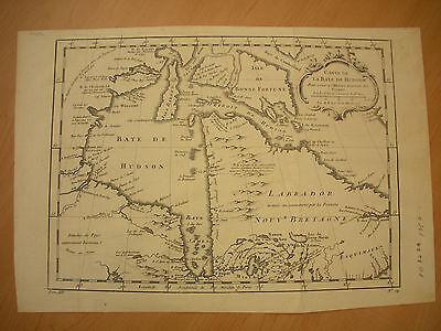 1757 FRENCH & INDIAN WAR MAP OF HUDSON BAY vafo