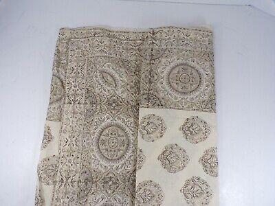 Pottery Barn Block Print Medallion Tablecloth Neutral -