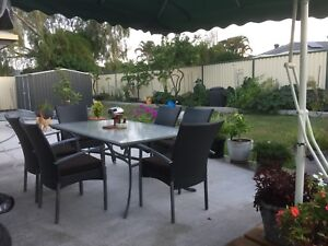 Outdoor Dining Setting Seven Pieces Plus Cushions