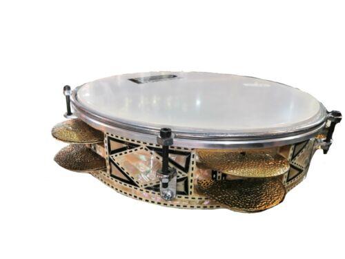 "Professionel Riq Tambourine Orienntal Instrument  Mother of Peal Hand Made 9"""